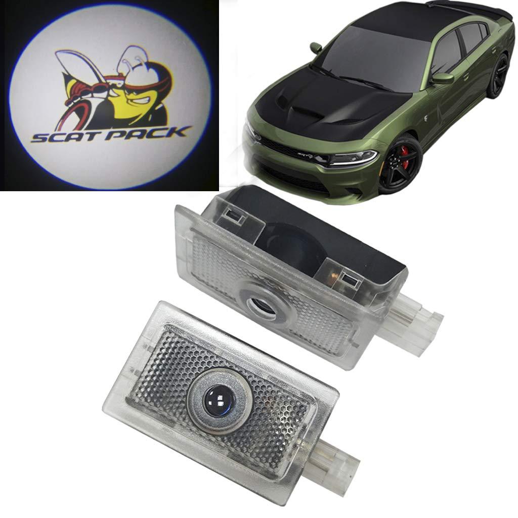 HNZJ 2x No Drill LED Laser Projector Door Shadow Light for Dodge Challenger SRT 13-19