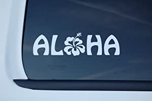 "Five STAR SUPPLY Aloha Hawaiian Sticker Vinyl Decal Choose Color & Size!! Hawaii Hang Loose Hibiskus Flower 808 Roots Islands Window Laptop Tumbler (V529) (6"" X 1.75"", White)"