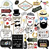 Las Vegas Casino Photo Booth Props Kit, 44 Pieces with Wooden Sticks and Strike a Pose Sign by Outside the Booth