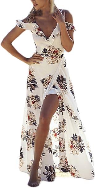 Vestiti Donna Eleganti Moda Abiti da Sera Lunghi Estivi Senza Spalline Collo Ca