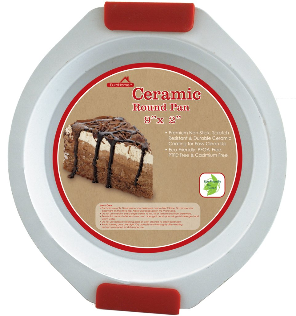 Euro Home 2169033 Ceramic Coated Round Pan - Red White44; Case of 12