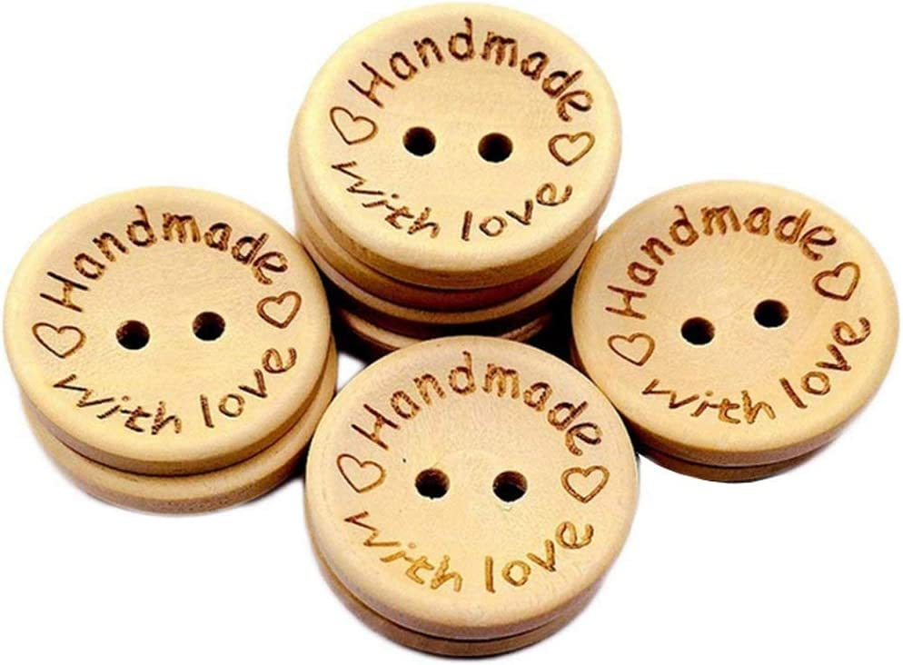 100Pcs Wood Handmade Tags 2 Holes Wooden Buttons for Sewing Scrapbooking DIY