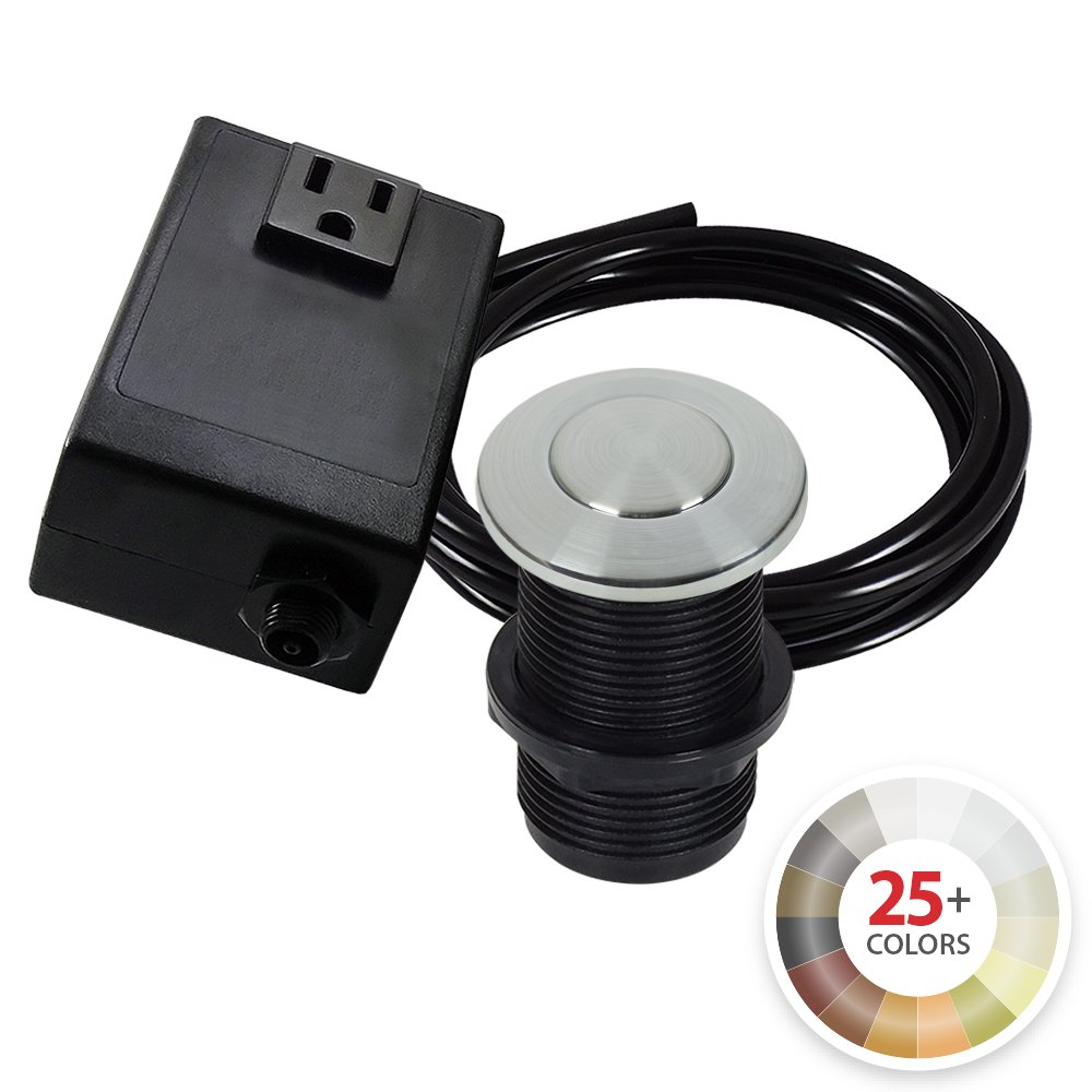 Single Outlet Garbage Disposal Turn On/Off Sink Top Air Switch Kit in Arctic Stainless. Compatible with any Garbage Disposal Unit and Available in 25+ Finishes by NORTHSTAR DÉCOR. Model # AS010-AS