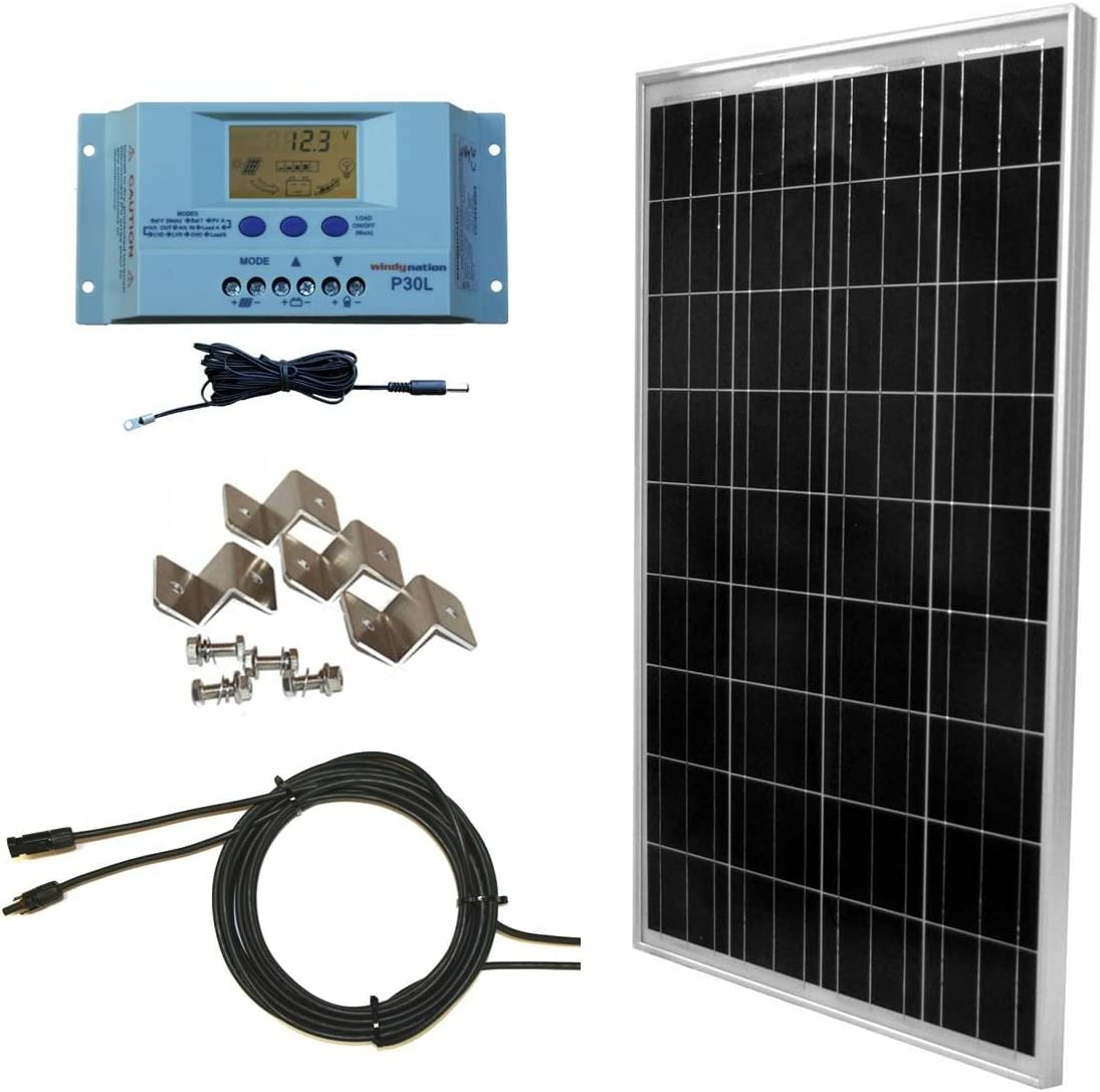 WindyNation 100 Watt Solar Panel Off-Grid RV Boat Kit with LCD PWM Charge Controller Solar Cable MC4 Connectors Mounting Brackets