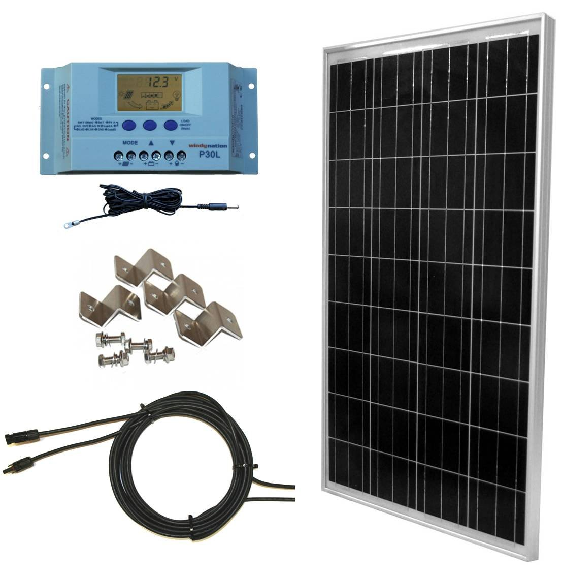 WindyNation 100 Watt Solar Panel Off-Grid RV Boat Kit with LCD PWM Charge Controller + Solar Cable + MC4 Connectors + Mounting Brackets by WindyNation
