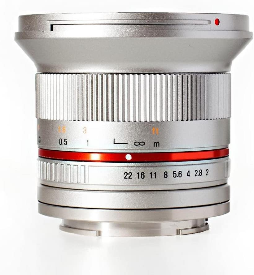 NEX Rokinon RK12M-E-SIL 12mm F2.0 Ultra Wide Angle Fixed Lens for Sony E-mount and for Other Cameras