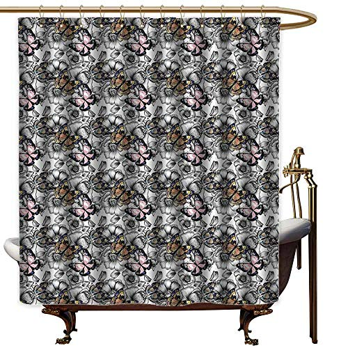 StarsART Shower Curtains Grey and tan Butterfly Decor,Monarch Butterflies Flowers Floral,W65 x L72,Shower Curtain for clawfoot tub - Monarch Clawfoot Tub