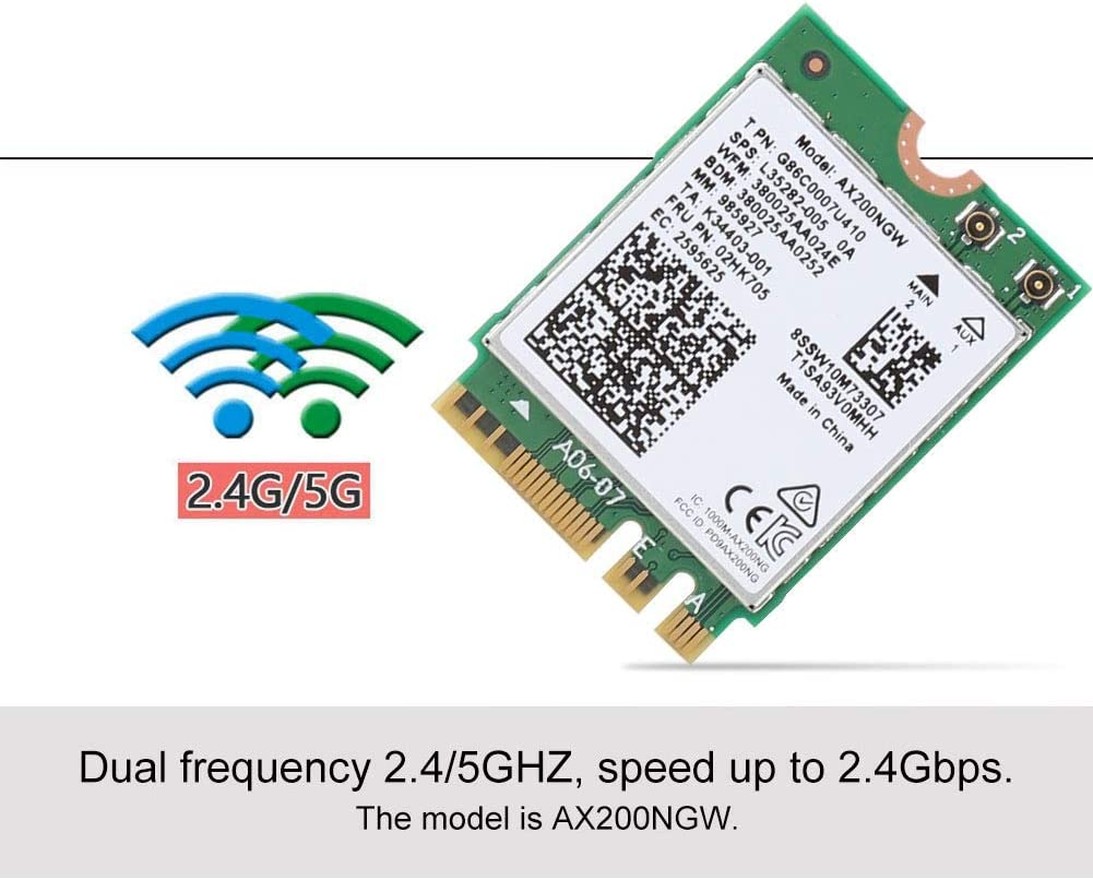 for Windows//Linux 2.4G // 5GHz Dual Band Wireless Network Card fosa WLAN Card 2.4Gb // s Bluetooth 5.0 Network Card for Intel AX200NGW with NGFF M.2