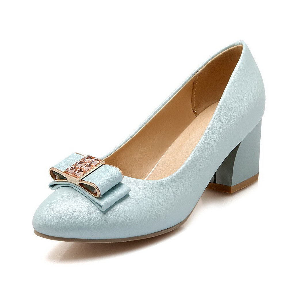 VogueZone009 Women's Pull-on PU Pointed Closed Toe Kitten-Heels Solid Pumps-Shoes with Knot, Blue, 34