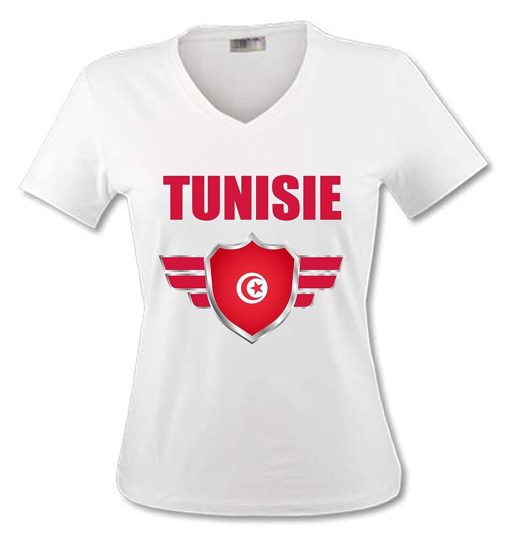 yonacrea Shirt Col V Adulte Personnalisable en Ligne Tunisie Coupe du Monde de Football 2018 Pr/énom Personnalis/é