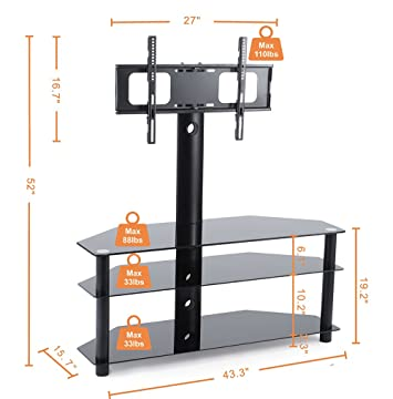 TAVR Swivel Floor TV Stand with Mount,3-in-1 Flat Panel Entertainment Stand for 32 to 65 inch Plasma LCD LED Flat or Curved Screen TVs TW1002