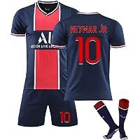 DLBJ Barn vuxen fotbollskit, 10 Neymar västpaket, fotboll kortärmad t-shirt kan rengöras upprepade gånger