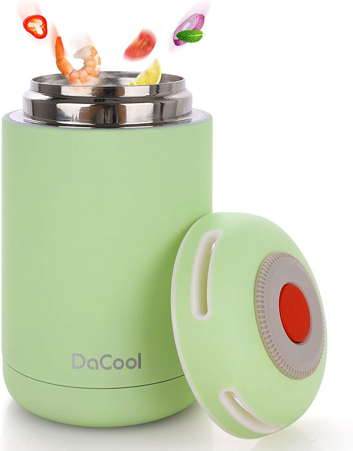 DaCool Hot Food Thermoses Insulated Lunch Containers Stainless Steel Hot Soup Food Jar 16 oz for Kids Adult School Lunch Containers Office Lunch Boxes Leak Proof for Picnic Outdoors BPA Free, Green