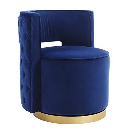 Enjoyable Swivel Accent Chair Modern Upholstered Barrel Chair Vanity Stool For Bedroom Living Room With Gold Base Silvery Navy Machost Co Dining Chair Design Ideas Machostcouk