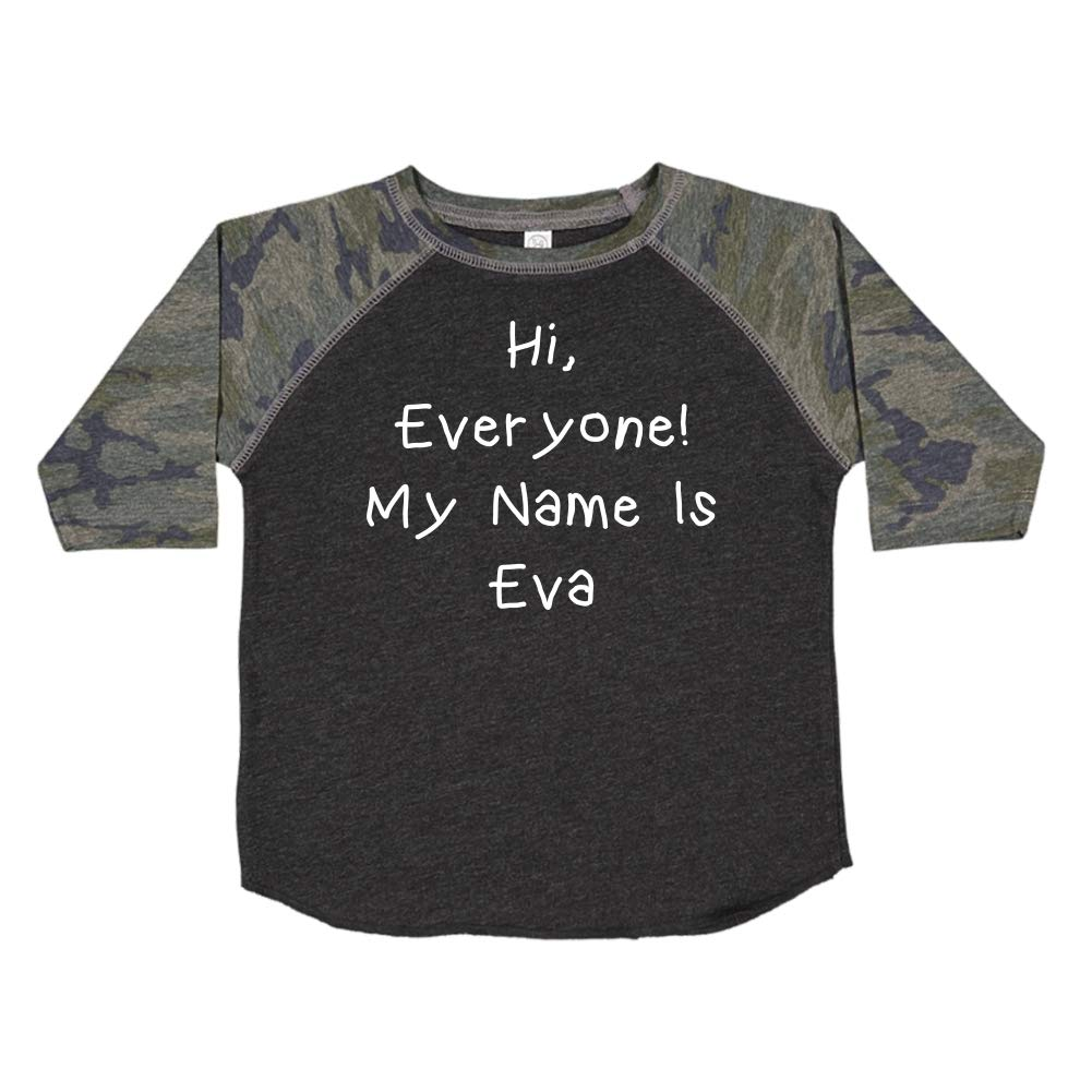 Everyone Mashed Clothing Hi My Name is Eva Personalized Name Toddler//Kids Raglan T-Shirt