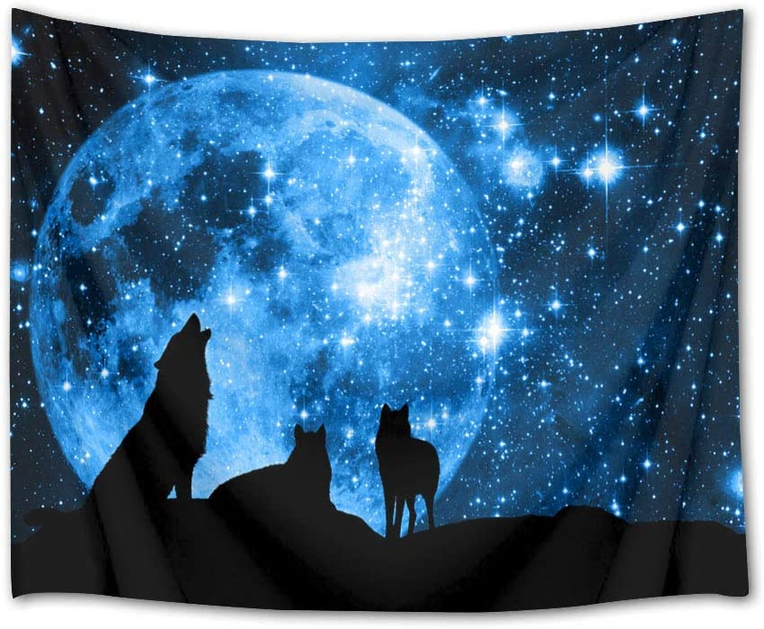 HVEST Wolf Tapestry Wolves on Mountain Wall Hanging Full Moon in Starry Sky Tapestries for Kids Bedroom Living Room Dorm Party Wall Decor,92.5Wx70.9H inches