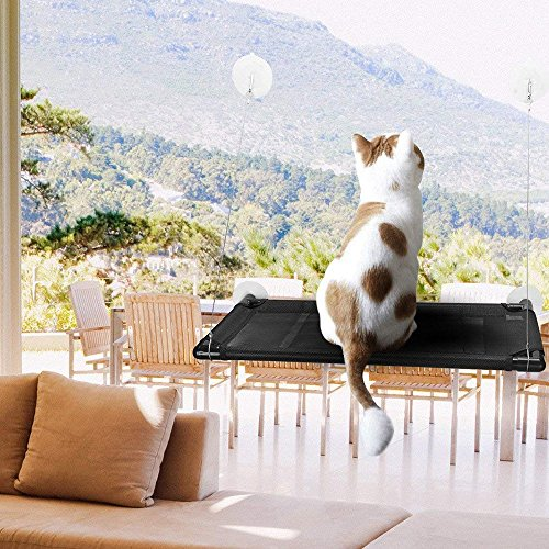 AIR BOLING Cat Window Perch Hammock Cat Bed Mounted Cat Sunshine Seat Durable Pet Perch with 4 Big Heavy Duty Suction Cups Cat Bed Holds Up to 60lbs