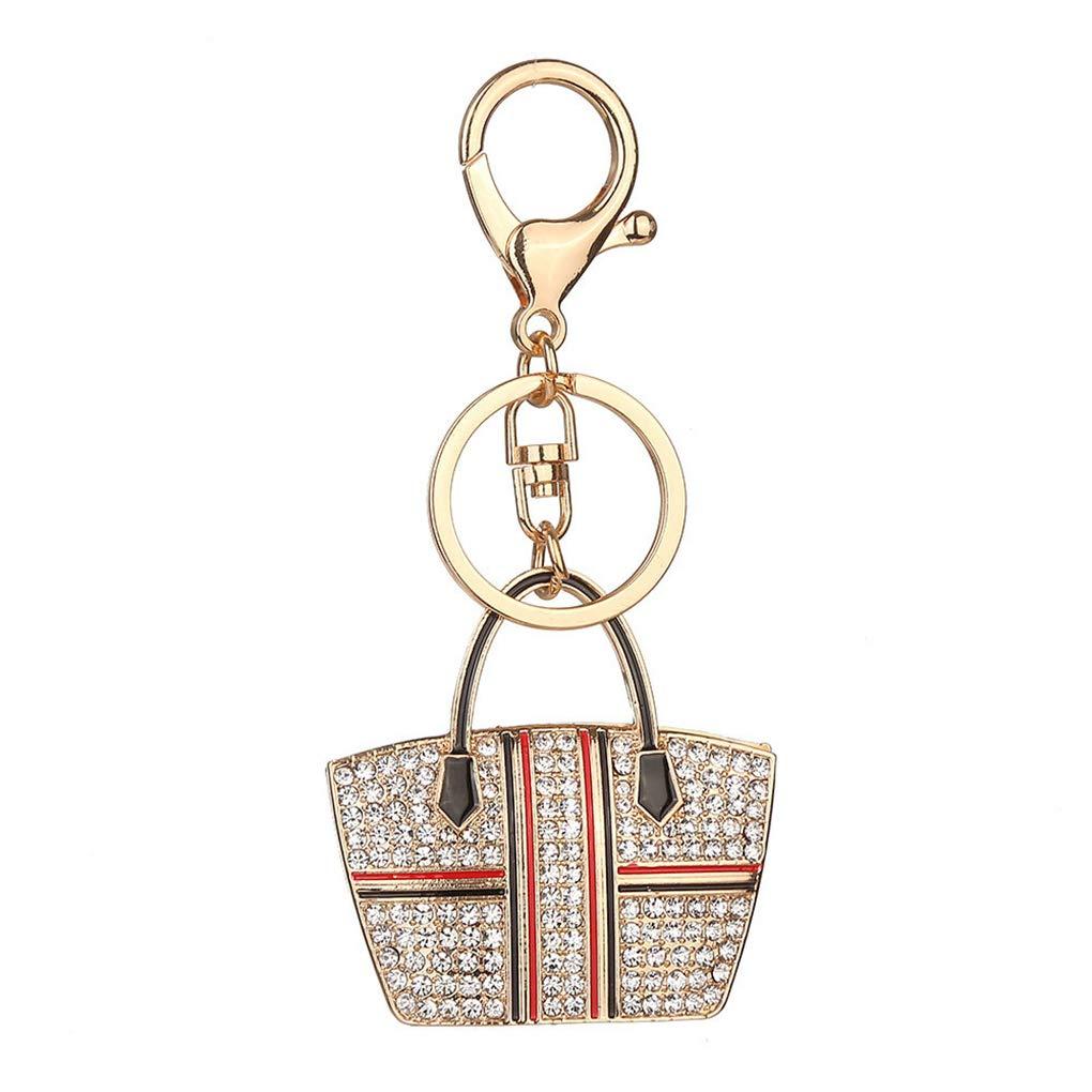 Handbag Shape Rhinestone Key Ring Crystal Bag Pendant Keychain Women Student Metal Key Chain