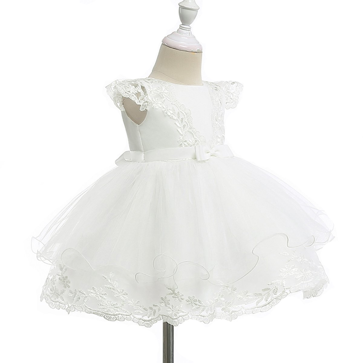 Moon Kitty Baby Girls Embroidery Flower Dress Lace Christening Baptism Gown for Baby Girl