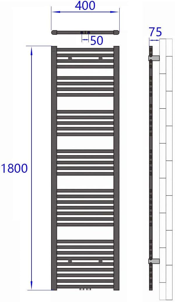 und Durchgangsform 50mm Ventil-Armaturen Set Multiblock Hahnblock mit Thermostat M30x1.5mm f/ür Heizk/örper Anschlussarmatur Universal Chrom Optik f/ür Eck