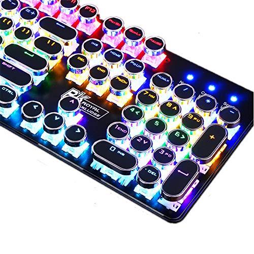 Gaming Backlit Mechanical Keyboard Letter Alphabet Glowing Illuminated 104 Keys USB Wired Retro Punk Style Circle Round Key Cap,F