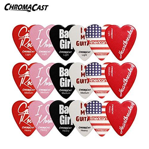 ChromaCast CC-HS-SAMPLER Heart Shaped Picks Assorted - 18-Pack Light, Medium and Heavy Gauge (Shaped Guitar Heart)