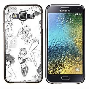 EJOOY---Cubierta de la caja de protección para la piel dura ** Samsung Galaxy E5 E500 ** --diseño de moda chica arte blanco bosquejo sexy