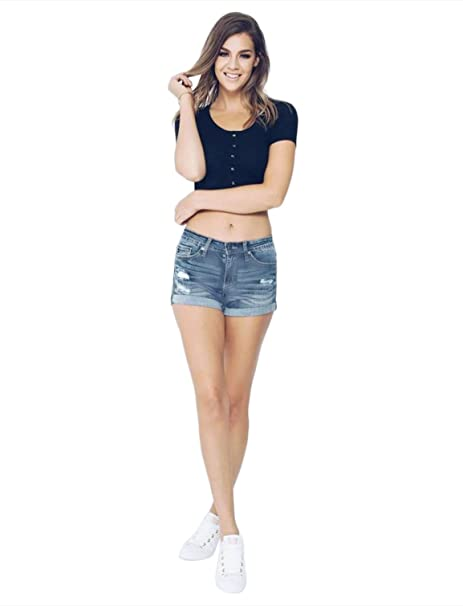 Amazon.com: Kancan - Pantalones cortos con dobladillo ...