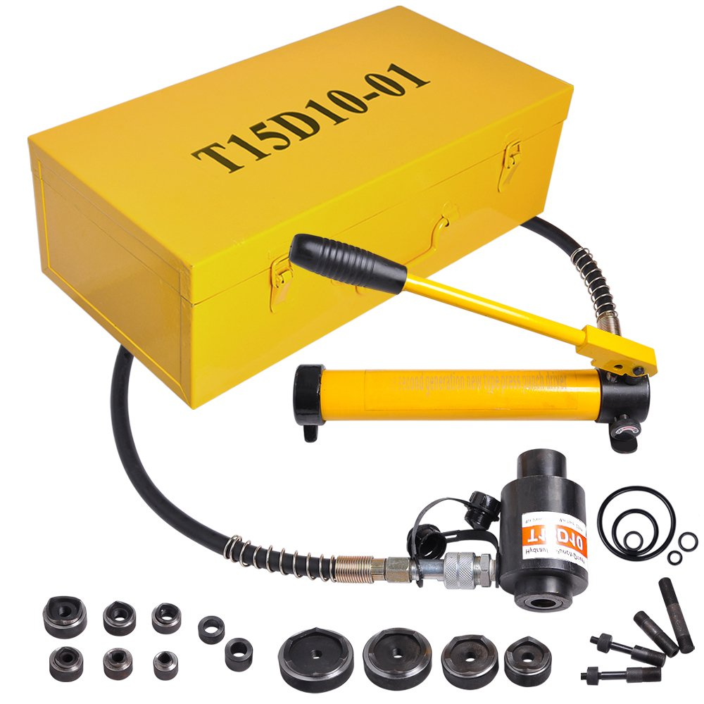 15 Ton 1/2'' to 4'' Hydraulic Knockout Punch Driver Kit Hole Complete Tool 10 Dies 11 14 Gauge Tool Metal Case Yellow
