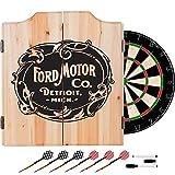 Ford Motor Company Vintage Design Deluxe Solid Wood Cabinet Complete Dart Set