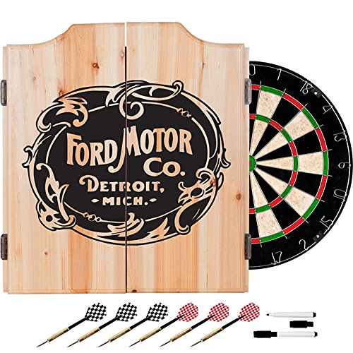Ford Motor Company Vintage Design Deluxe Solid Wood Cabinet Complete Dart Set by TMG