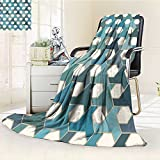 AmaPark Digital Printing Blanket Islamic Tiles Cultural Hexagon Shape Blue Teal White Summer Quilt Comforter