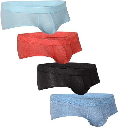 Innerternet-Ropa Interior de Hombre, Moda Sexy Conjunto de Braguitas de triángulo de Color sólido de algodón de 4 Piezas para Hombre(Negro/Azul/Verde/Gris/Naranja/Rojo, S-XL): Amazon.es: Ropa y accesorios