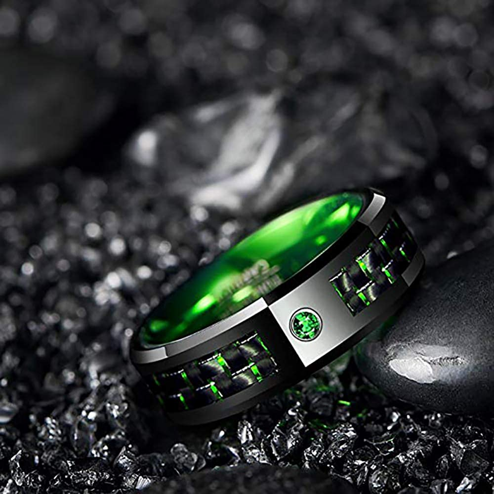 8mm  Red Celtic Dragon Tungsten Carbide Band,Black Ring,Green Carbon Fiber Inlay,Wedding,Engagement,Unisex Ring,Comfort Fit,US Sizes 7-12.