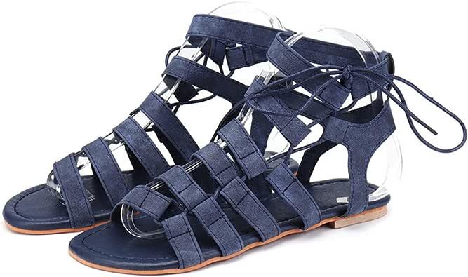 Sandalias Mujer Verano gracosy Plano Peep Toe Estilo Salvaje Casual Comodidad Comanas De Gladiador Sandalias Negro, Gris, Azul, Marrón,Verde Zapatos De Mujer De GranTamaño
