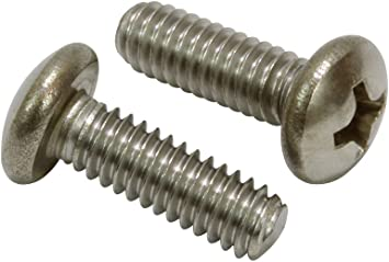 #6-32 x 1-3//4 Phillips Pan Head Machine Screws,Stainless Steel,Full Thread,Right Hand,Pack of 100
