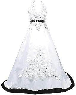 925857a8282 Snowskite Womens Halter Embroidery Satin Wedding Bridal Dress Corset Back