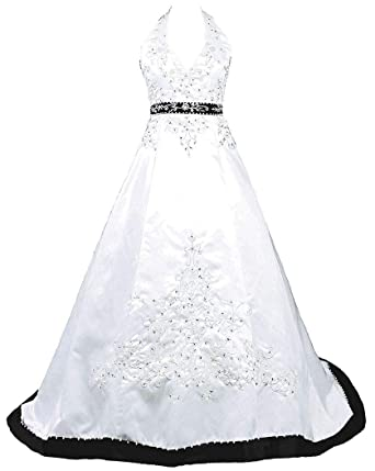 aaaa2d4a053 Snowskite Womens Halter Embroidery Satin Wedding Bridal Dress Corset ...