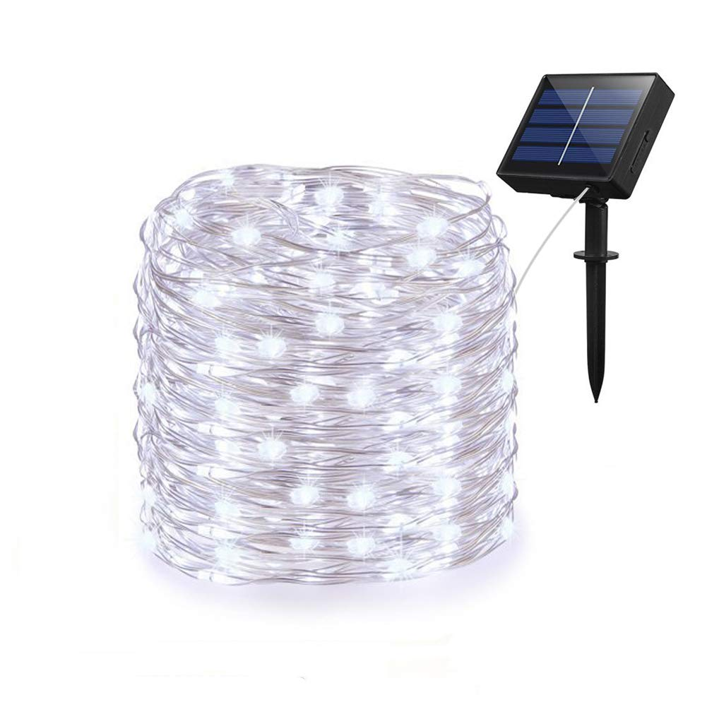 Adecorty Solar String Lights, Solar Fairy Lights 66ft 200 LED 8 Modes Silver Wire Lights Outdoor String Lights Waterproof Solar Decorative Lights for Patio Garden Yard Wedding Christmas (Cool White) by Adecorty