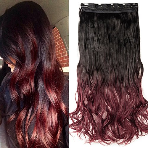 S-noilite Ombre 23/25 inches Clip in Hair Extensions One Piece Curly Wave Straight Black Blonde Brown Hair Extension(23