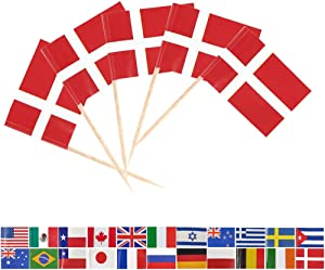 Tectsia Europe Country Danish Toothpick Flag, Denmark Flags, 100 Pcs Cupcake Toppers Flag, Small Mini Stick Flags Picks Party Decoration Celebration Cocktail Food Bar French Cake Flags