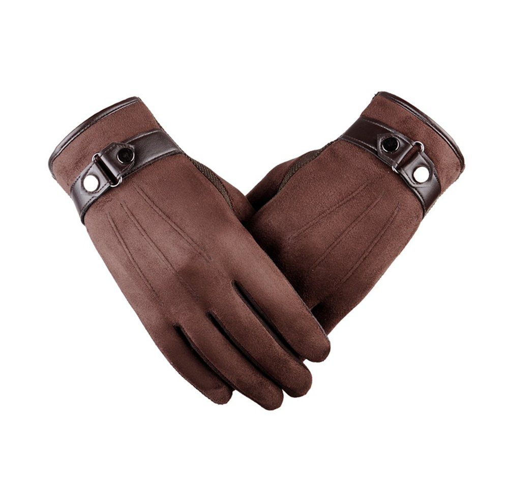 Mens Classic Winter Hiking Gloves Heated Touch Screen Cool Winter Gloves Brown