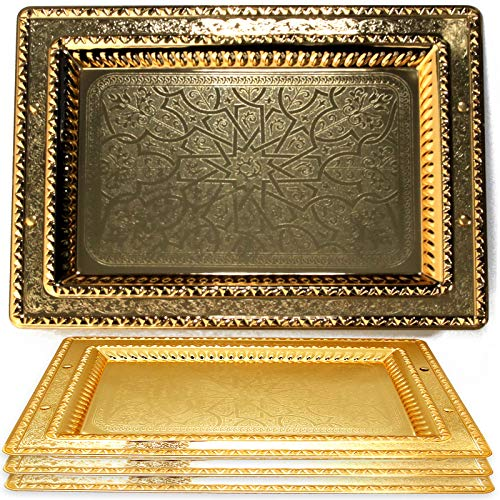 Maro Megastore (Pack of 4) 18.5-Inch x 13.8-Inch Special Rectangular Iron Gold Plated Serving Tray Floral Edge Engraved Decorative Wedding Birthday Buffet Party Dessert Snack Platter 2599 M Tla-067