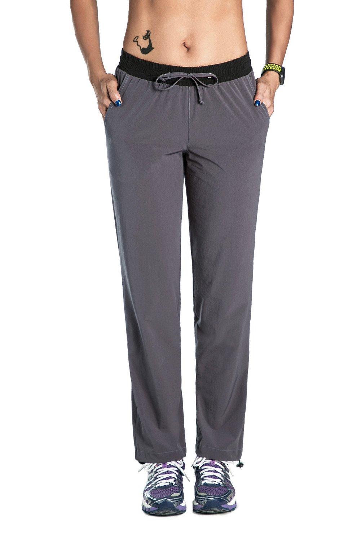Nonwe Women's Light Weight Quick Drying Pants with Drawstring Hem Gray XXL/32 Inseam