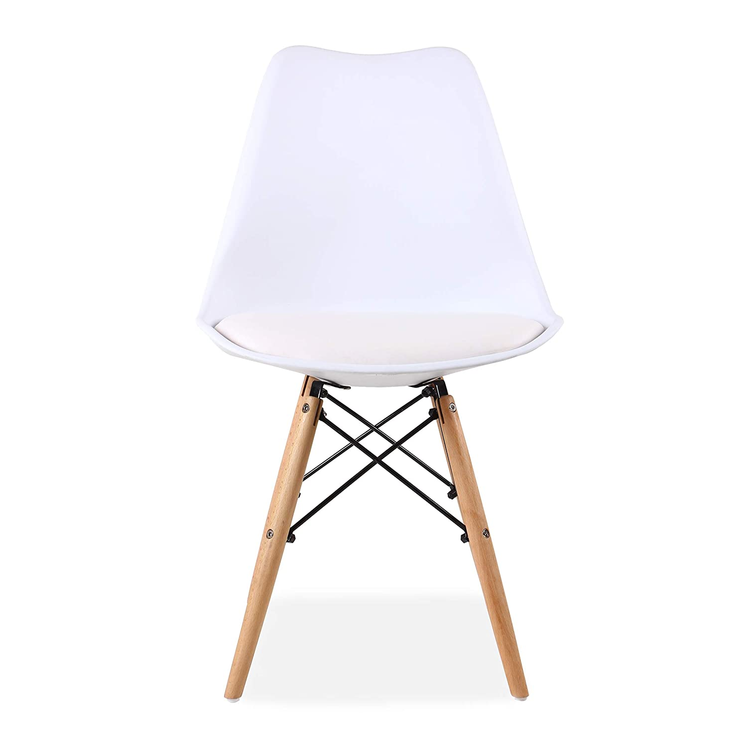 White All About Chairs Set of 4 Eiffel Style Kitchen Dining Chair Plastic Soft PU Leather Padded Cushion Solid Wooden Legs