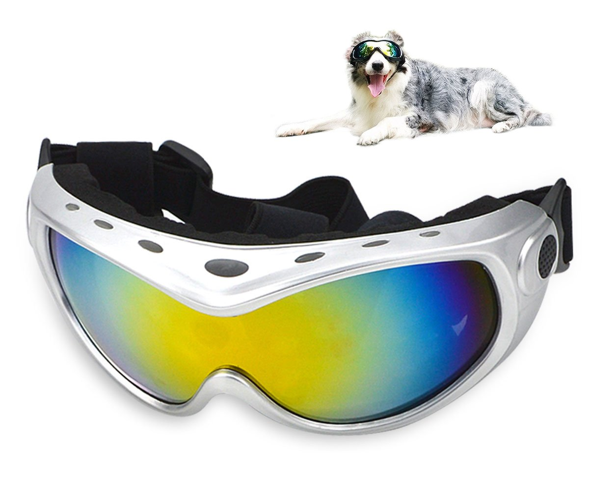 GLE2016 Dog Goggles Sunglasses - Pet Doggles UV Protection Eyewear with Strap, Cool for Running, Swimming, and riding (Silver)