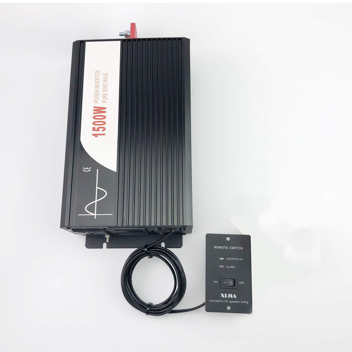 Xijia 1500W (Peak 3000W) Pure Sine Wave Power Inverter DC 24V 48V to AC 120V 60HZ Solar Converter for Home Use car (DC 24V to AC 120V)