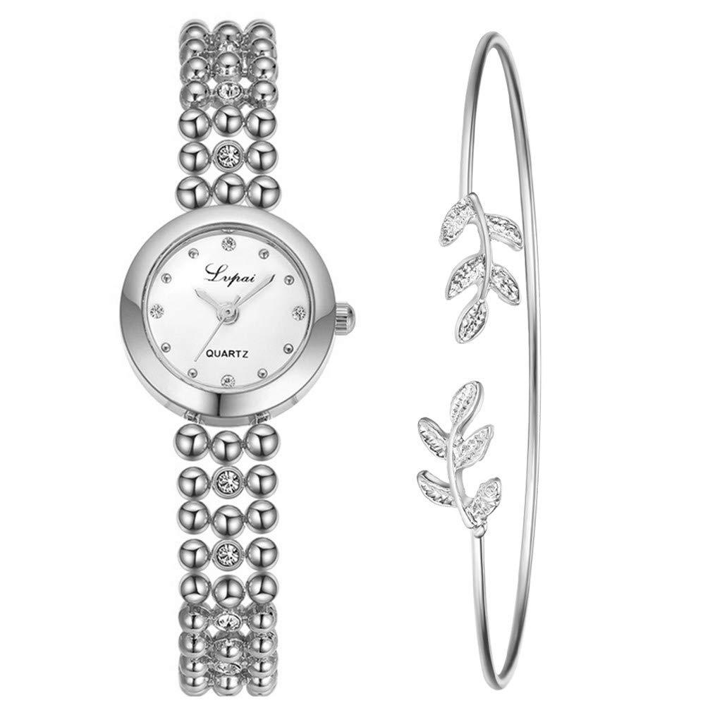 Toponly Women Girls Luxury Fashion Diamond Beaded Chain Watch Temperament Leaves Bracelet 2pcs/Set