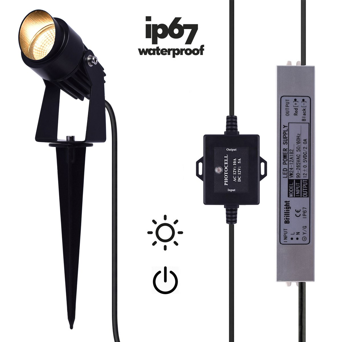 6-Pack 3W 12V LED Landscape Spotlight Hooded Spike Light Kit incl Waterproof Power Supply & Photocell Sensor Switch ( Warm White 3000K )