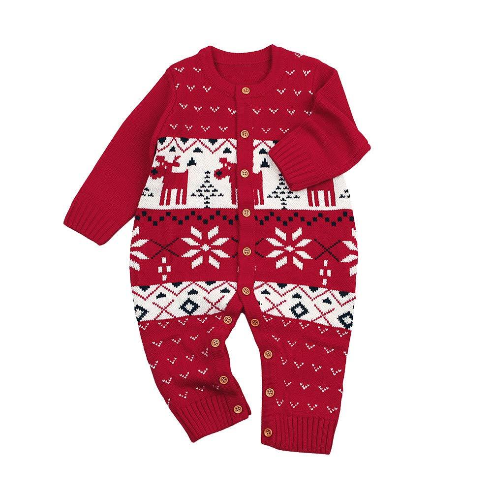 Jimmackey Neonato Unisex Maglia Pagliaccetto, Bebè Natale Cervi Stampa Maglione Tutine Body, Bambino Da 6 A 24 Mesi